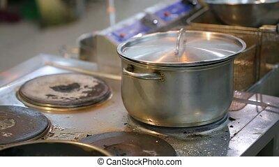 pan on the stove