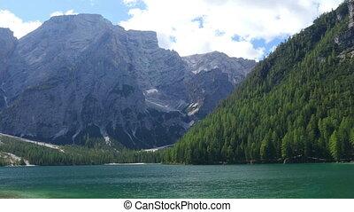 pan over lake prags - A pan over lake prags in dolomite...