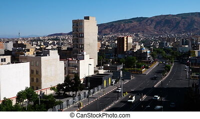 Pan over the city of Tabriz, Iran