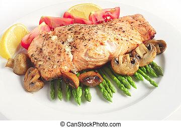 Pan-seared salmon steak and veg - A salmon steak fried and...