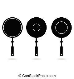 pan set black vector silhouette