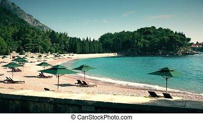 Pan shot of famous Sveti Stefan in Montenegro - Famous Sveti...