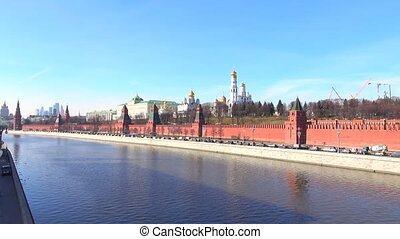 Pan shot of Moscow Kremlin on sunny day, Russia. 4K footage