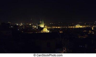 Pan shot of Old town in Prague at night. 4K video