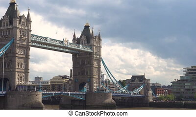 Pan shot of Tower Bridge in London, England. - Pan shot of...
