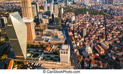 Pan shot Timelapse rooftop view of Istanbul business district and Golden horn