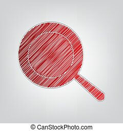 Pan sign. Red gradient scribble Icon with artistic contour gray String on light gray Background. Illustration.