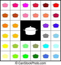 Pan sign. Vector. Felt-pen 33 colorful icons at white and black backgrounds. Colorfull.