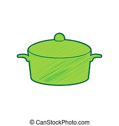 Pan sign. Vector. Lemon scribble icon on white background. Isolated