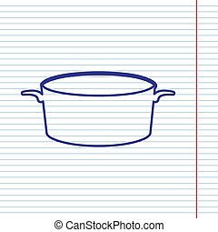 Pan sign. Vector. Navy line icon on notebook paper as background with red line for field.
