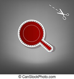 Pan sign. Vector. Red icon with for applique from paper with shadow on gray background with scissors.