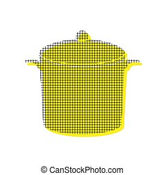 Pan sign. Vector. Yellow icon with square pattern duplicate at w