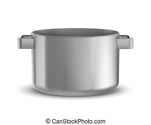pan - Silver cooking pot from low perspective isolated on...