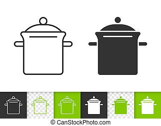 Pan simple black line vector icon