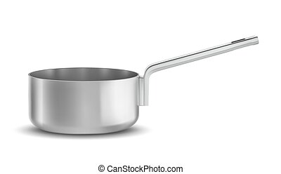 pan - Stainless steel pot. Isolated on white background