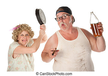 Pan to head - Woman readies a pan to drunken husband's head