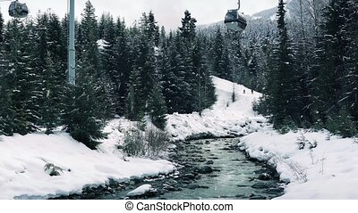 Pan Up From River To Ski Lift - Pan from icy mountain river...