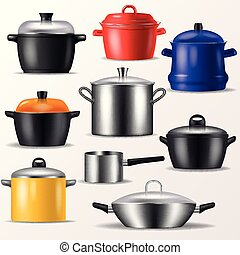Pan vector kitchenware or cookware for cooking food and...