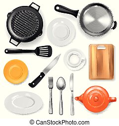Pan vector kitchenware or cookware for cooking food with...