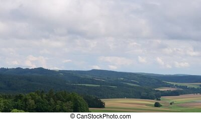 Pan view of European landscape in the summer time. Mountain landscape