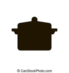 Pan with a lid for cooking soup icon in trendy flat style isolated on white background. Eps 10.