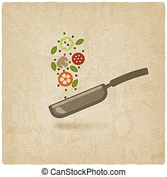 pan with food on old background. vector illustration - eps...