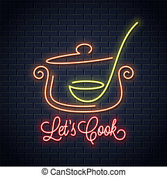 Pan with ladle neon sign. Kitchen spoon in a Saucepan pot neon banner
