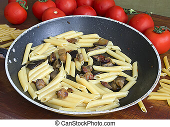 pan with pasta and eggplant