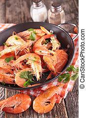 pan with shrimp