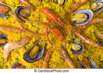 Paella - Pan with spanish sea food, Paella .