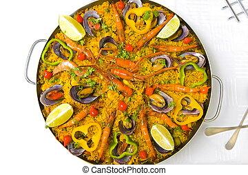 Pan with spanish sea food, Paella .
