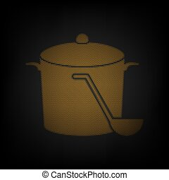 Pan with steam sign. Icon as grid of small orange light bulb in darkness. Illustration.