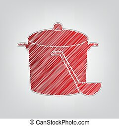 Pan with steam sign. Red gradient scribble Icon with artistic contour gray String on light gray Background. Illustration.