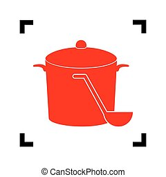 Pan with steam sign. Vector. Red icon inside black focus corners on white background. Isolated.