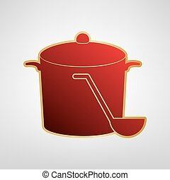 Pan with steam sign. Vector. Red icon on gold sticker at light gray background.