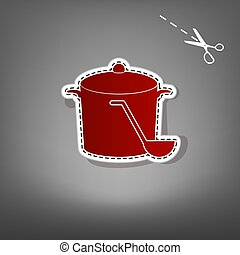 Pan with steam sign. Vector. Red icon with for applique from paper with shadow on gray background with scissors.