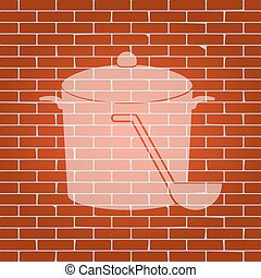 Pan with steam sign. Vector. Whitish icon on brick wall as background.