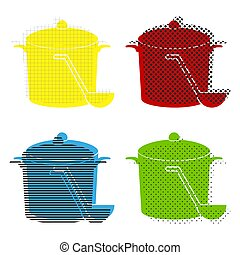 Pan with steam sign. Vector. Yellow, red, blue, green icons with
