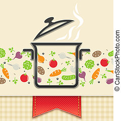 pan with vegetable, food background vector illustration...