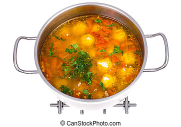 Pan with vegetable soup and meat balls