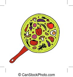 Pan with vegetables for your design