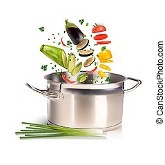 pan with vegetables on a white background
