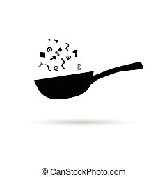 pan wok with vegetables illustration in black color