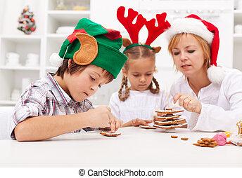 pan zenzero, decorare, bambini, biscotti