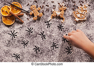 pan zenzero, stelle, biscotti, bambino, disegno, natale, farina, mano