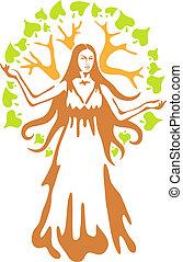 Panacea - ancient Greek goddess.  Vector illustration.