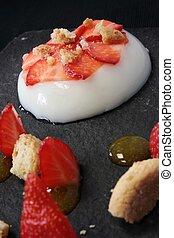 panacotta dessert - pannacotta dessert with strawberries