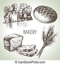 panadería, bosquejo, icono, set., vendimia, mano, dibujado,...