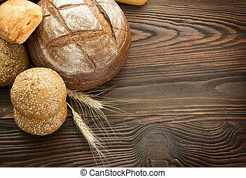 panadería, bread, frontera, con, espacio de copia