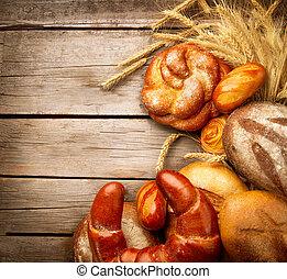 panadería, bread, y, gavilla, encima, madera, plano de fondo